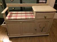 Telephone seat painted in Annie Sloan Country Grey