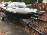 Boat. Broom with trailer