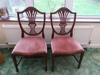 Set of Four Wheat-Sheaf Carved Dining Chairs with Dusky Pink Cushions
