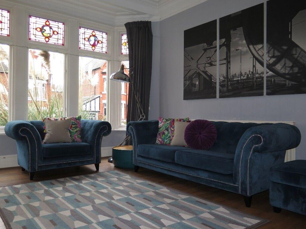 Petrol Blue Velvet Sofa Caseconrad Com