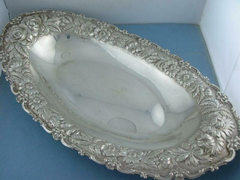 """Sterling STIEFF 13 1/4"""" Oval Bread Tray STIEFF ROSE repousse hand chased no.202"""
