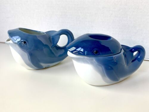 Vintage Henriksen Imports Porcelain Pair Whale Creamer Covered Sugar Bowl Blue