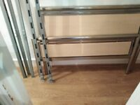 Metal double bed frame with memory foam mattress