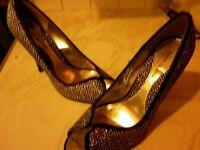 River Island size 5 peep toe black/silver dressy shoes - New