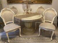 Italian Gold And Cream Living-Dining Room furniture set