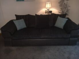 Sofology three seater sofa and 2 cuddle chairs with matching footstools for sale