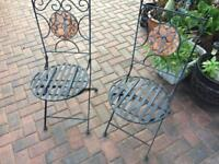 2 x folding metal patio chairs (heavy)
