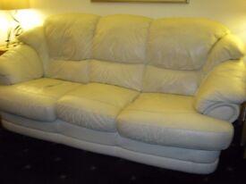 R & J Leather Cream 3 seater sofa for sale