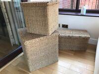 3 x rattan storage baskets