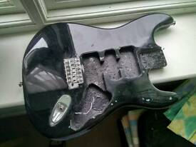 Squier Affinity Stratocaster body (black 41mm thick, Fender strat made in Indonesia, tremolo fitted)