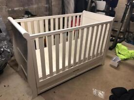 Silver Cross Nostalgia Sleigh Cot Bed and Mattress.