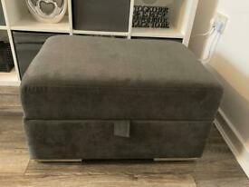 DFS Freya large storage footstool in graphite grey. Immaculate condition.