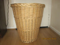 A wicker laundry basket. £5