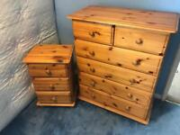 Antique Pine Chest a Drawers and bedside cabinet
