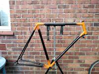 retro steel road bike frame with HETCHINS badge
