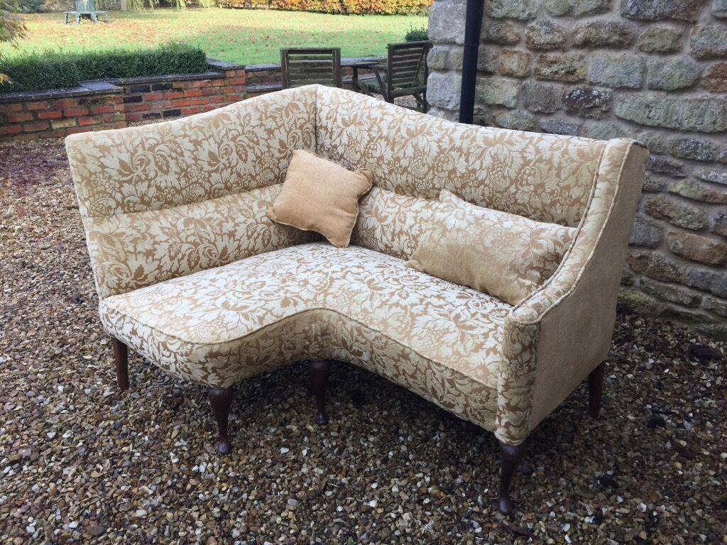 Antique Vintage Corner Sofa Newly Reupholstered
