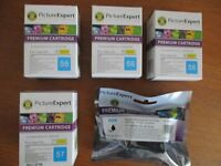 Premium Inkjet Cartridges. 4 HP56 Black compatible for C6656AE + 1 HP57 Colour compatible for 6657A