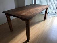 Large and heavy wooden kitchen dining table plus extensions