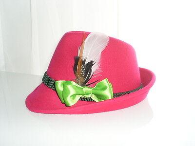 Fasching Trachtenhut Hut zur Tracht Dirndl Dirndlhut pink rosa weiss grün 55 NEU