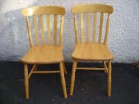 2 solid beech farmhouse dining chairs, solid wood country style chairs