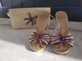 Designer Charles Jourdan Gold and Purple High Heeled Sandals Party Shoes Size 36 / 3