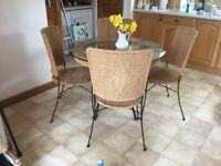 Glass round top table & chairs