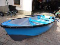 12ft Fibreglass Fishing Boat, Oars, Rowlocks, Anchor and Bilge Pump
