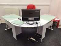 White wood and glass executive corner desk and Red leather massage chair