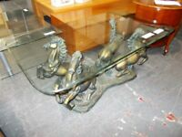 Glass top…Horse featured base…Coffee table…(rf4546)