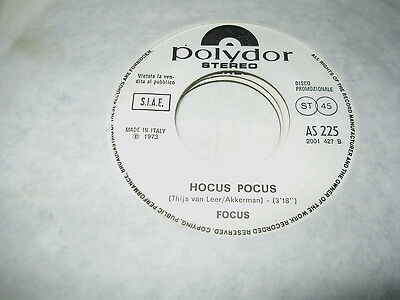 FOCUS - HOCUS POCUS  45 ITALY j-b PR0MO BILLY GRAY (TRIP) PROG mint- - !! - Billy Hocus Pocus