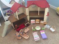 Large sylvanian families bundle- including beechwood hall house, nursery, car, burger van, playpark