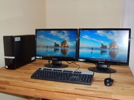 HP Mini Tower PC with Twin Monitors. Win 10, Wi-Fi Internet, 500GB HDD, 4GB RAM. Excellent Condition