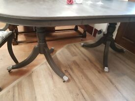 Upcycled with Annie Sloane Graphite chalk paint extending table and 6 chairs 2 of which are carvers