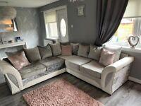 Crush Velvet and White Leather Sofa