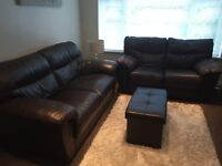 2 Brown Leather Sofas with Free Storage Footstool