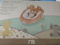 Baby bouncer chair, Mothercare 'Teddy's toy box' with vibration and music