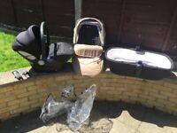 Silvercross Wayfarer in stone - single seat, car seat, carry cot & rain cover & adaptors
