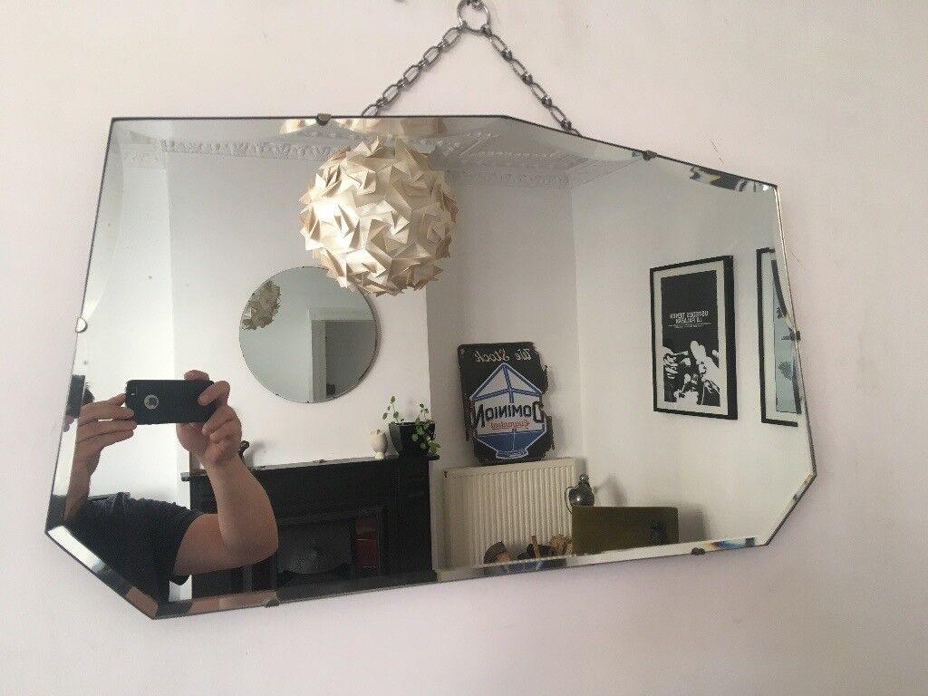 Vintage 1930s art deco scalloped frameless bevelled edge wall mirror