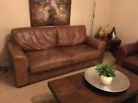 2x 2 seater sofas - brown leather
