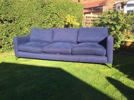 Large navy blue sofa