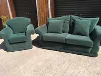 Green fabric 2&1 suite. FREE DELIVERY **SEE AD FOR DETAILS!**