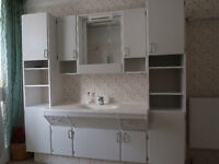 Complete Bathroom Suite with great storage. Good Condition.