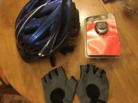 Bicycle helmet, digital speedometer and gloves SPC