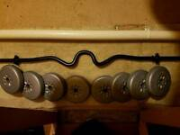Curling bar and weights