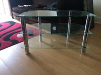 Clear & black tv stand