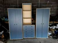2 wardrobes, chest of drawers and shelves