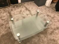 Glass Coffee Table 60cm by 90cm with silver stands
