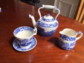 Miniature Copeland Spode Blue Italian tea set. Tea pot, cup saucer & milk/cream jug