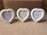 3 x heart shaped photo frames