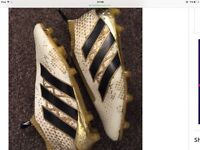 Adidas laceless football boots white and gold